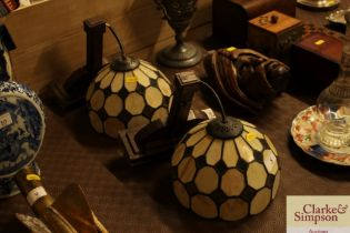 A pair of art deco design wall lights with tiffany sty