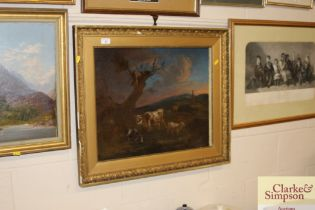 19th Century school rural study with cattle in a l