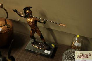 "A Hellenic copper figure depicting ""Leonardis of Sp"