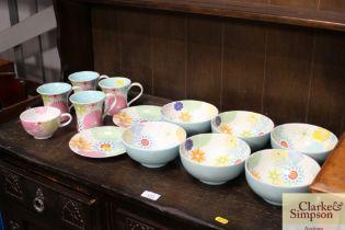 """A quantity of Portmeirion """"Crazy Daisy"""" bowls and"""