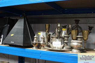 A quantity of metalware to include candelabra; gob