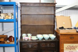 An oak dresser fitted two drawers
