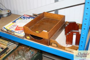 Three wooden stationary trays and a pair of Art De