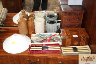 A table top chest; an inlaid box, locked; various