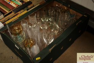 A box of various glassware