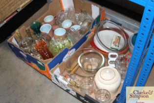Two boxes of various glassware etc