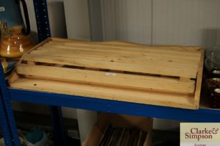 A pine tray topped table AF together with a pine d