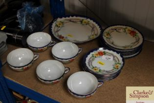 A quantity of Japanese floral decorated teaware