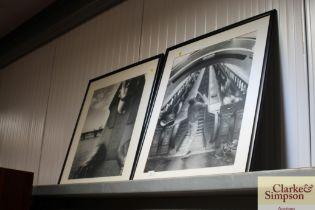 Two modern black and white prints