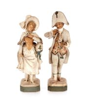A pair of continental potteryfiguresof a man and a woman in period costume,the man taking a pinch