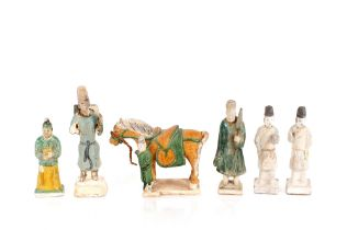 A Tang style horse;and a collection of Tang style terracotta figures