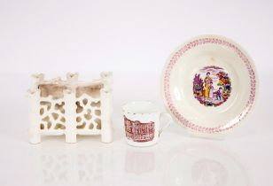 """A 19th Century """"Charity"""" nursery plate;a Co-op Society cup dated 1911; and a white glazed posy"""