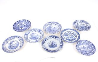 """A Davenport Chinoiserie """"Fence"""" pattern plate;a Wedgwood blue and white transfer """"China Garden"""""""