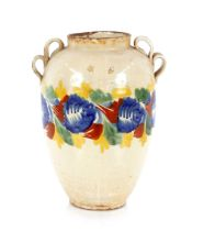 A 19th Century Mexican pottery baluster vase,with loop handles, 36cm high