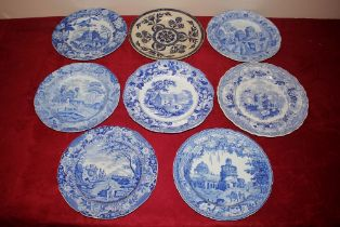 """A Don Pottery blue and white transfer decorated plate,""""Italian Scenes"""" a Spode """"Caramanian"""""""