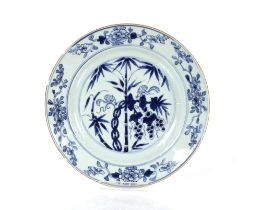 Five 19th Century Chinese blue and white plates,decorated with squirrels amongst bamboo shoots,