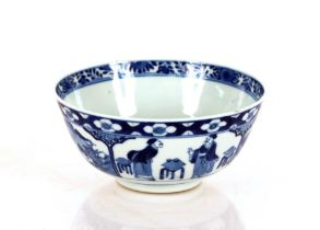 A Chinese blue and white bowl,decorated with panels of figures and scenery, four character mark