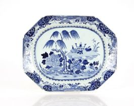 A 19th Century Chinese blue and white meat platter,decorated exotic garden scene, 41cm; a 19th