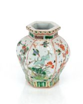 A 19th Century Chinese porcelainfamille verte hexagonal vase,each panel decorated with birds,