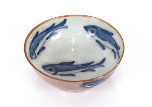 A Lambeth pottery 1770-80, fish decorated bowl,15cm dia. AF