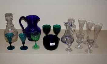 A collection of various Victorina and later glassware,to include a triple ring necked decanter,