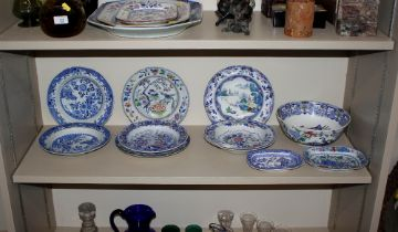 A collection of Davenport, Copeland and other stone china Orientalpatterned dishes and plates;a
