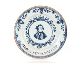 """A 18th Century Delftware plate,""""Admiral Keppel For Ever"""", the centre with head and shoulders"""