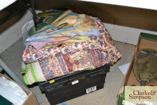 A box of various textiles