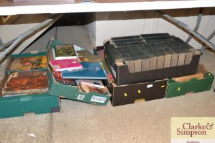 Five boxes of various books