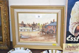 A C19th watercolour study depicting Wickham Market Hill,