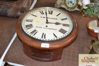 A G.W.Wilson of Bury St Edmunds school clock with fusée movement