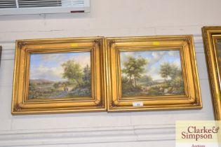 A pair of gilt framed oil on board studies depicti