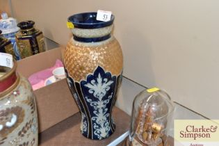 A Royal Doulton blue and gilt decorated vase
