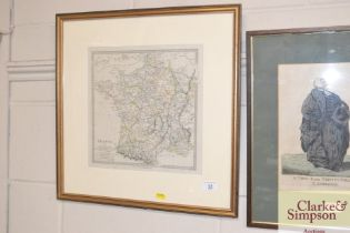 A framed and glazed coloured map, engraved by J &