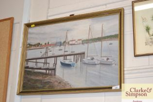 An oil on board study depicting Pin Mill