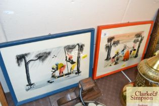 Two signed Congolese gouache paintings