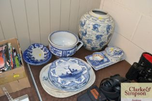 A quantity of various blue and white china