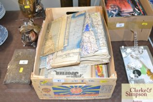 A box of WW2 maps, RAF Spotter magazines and other