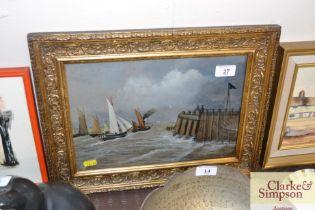 A gilt framed mixed medium study depicting barges