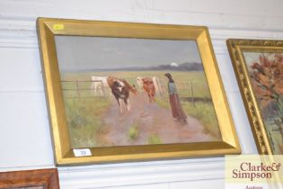 An oil on canvas depicting a figure herding cows