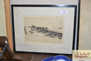 """A pencil signed engraving """"Walberswick Pier"""""""