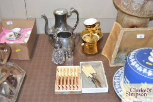 A silver plated coffee pot; boxed cutlery; Royal W
