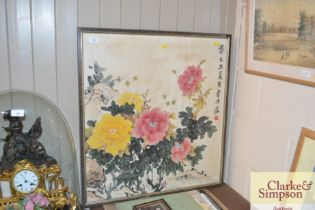 A Chinese painting on silk depicting Peony's, char