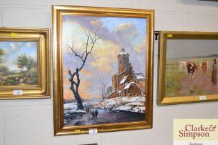 Ron Zdriluk, oil on board study of a winter scene