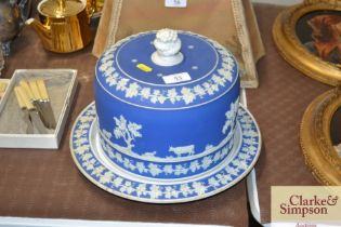 A jasperware cheese dish and cover, bottom plate