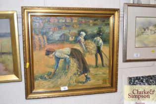 A gilt framed oil on board study of a harvest scen