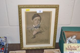 A portrait print signed John Bacon