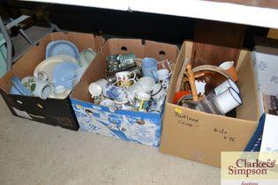 Three boxes of various china and kitchenalia