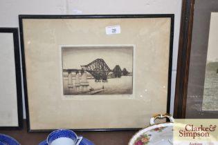 A pencil signed engraving depicting Jack Bridge