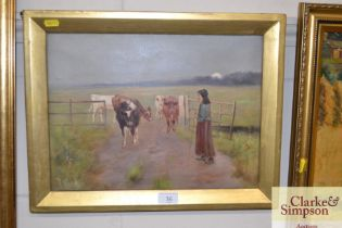 An oil on canvas depicting a girl herding cows
